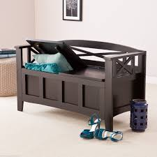 Walnut Split Seat Storage Bench Cool Entryway Shoe Storage Bench Come With White Cushion Seat