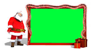 christmas clip of santa claus with empty giant card with green