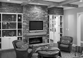 furniture fireplace designs with tv above stone mounted shelves
