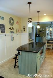 painted kitchen island kitchen island makeover duck egg blue chalk paint artsy