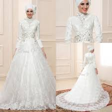 discount lace ball gown long sleeve muslim wedding dresses hijab