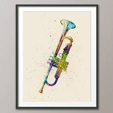 trumpet watercolour abstract art print by artpause