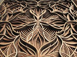 geometric laser cut wood relief sculptures by gabriel schama