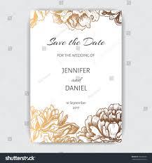 Invitation Card For The Wedding Vector Illustration Sketch Card Flowers Chrysanthemum Stock Vector