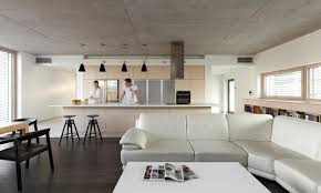 modern interior bungalow with exposed concrete ceiling bratislava