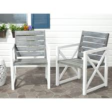 Patio Chair Set Of 2 by Safavieh Irina White Ash Grey Acacia Wood Patio Armchair 2 Pack