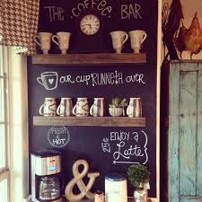 Chalkboard Ideas For Kitchen Vintage Look Old Coffee Station Table With Black Chalkboard Wall