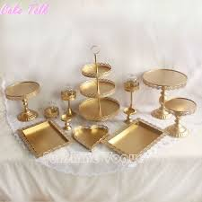 cheap cake stand find more stands information about set of 12 pieces gold cake