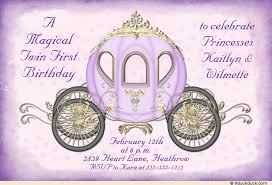 fairytale princess twin birthday invitation cinderella royal