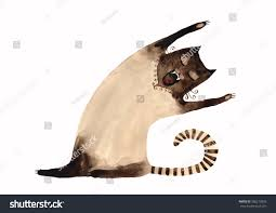 watercolor siamese cat walking hand drawn stock illustration