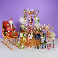 patience brewster dash away reindeer with santa and sleigh figures