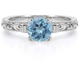 topaz engagement ring 1 carat deco blue topaz engagement ring 14k white gold