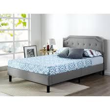 zinus scalloped upholstered dark grey queen platform bed frame hd