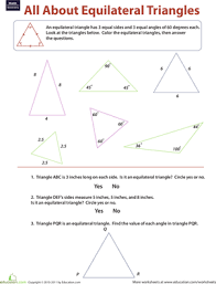 equilateral triangles worksheet education com