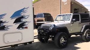 jeep camping trailer a truck towing a trailer towing a jeep a long haul youtube