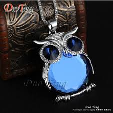 crystal owl necklace images Owl pendant necklace crystal zinc alloy popcorn chainnecklaces jpeg