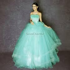robe turquoise pour mariage de bal princesse pour mariage en tulle turquoise vaporeuse à