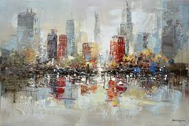 downtown new york city oil painting on canvas urban skyline pictures for cafe wall art decoration in livingroom in painting calligraphy from