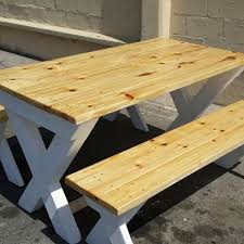 crossed leg pine table two benches in oak white stain