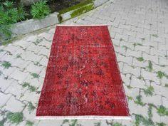 Colorful Aztec Rug Red Color Large Size Overdyed Rug Turkish Carpet 5 U00272