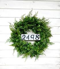 Fern Decor by Boxwood U0026 Fern Wreath Door Sign House Number Fall Wreath Outdoor