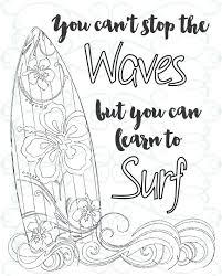 Adult Inspirational Coloring Page Printable 03 Learn To Surf Surfboard Coloring Page