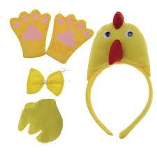 yellow chicken animal headband bow tie tail paw fancy dress