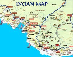 Turkey Mountain Map Map Of Lycian Archeological Sites Beaches Walking Cycling Out