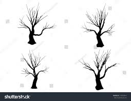 halloween tree silhouette isolated on white stock vector 214593016