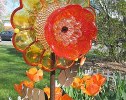 yard glass plate flower upcycled garden arthome