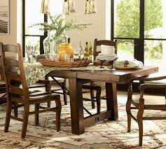 rustic pottery barn kitchen table honey seagrass chiars 6pc dining
