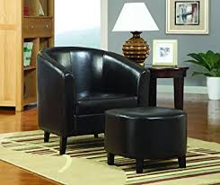 amazon com coaster 900240 vinyl accent chair with ottoman dark
