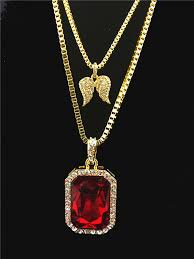double gold pendant necklace images Double layer necklace with gold color pendant iced out red black jpg