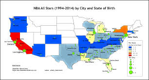 map usa nba nba all city state of birth usa only 1994 2014 oc nba