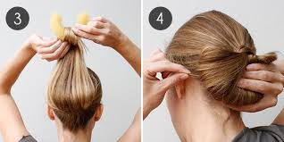 hairstyles with a hair donut hairstyle how to half moon updo more com