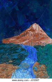 mountain landscape with oil paints mountain and sky palette