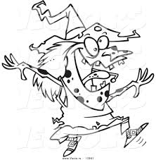 vector of a cartoon energetic witch jumping coloring page