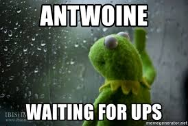 Rainy Day Meme - antwoine waiting for ups kermit rainy day meme generator