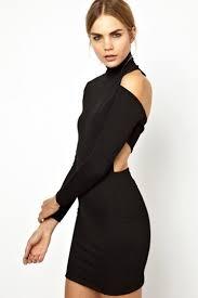 black cut out dress black sleeve high collar cut out bandage bodycon dress