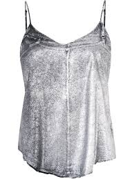 rta metallic spaghetti straps blouse silver black women clothing