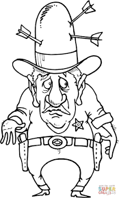 sherif with arrows in the hat coloring page free printable