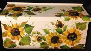 Wall Mount Mailbox With Flag Ws Hand Painted Wall Mount Mailbox Rustic Sunflowers
