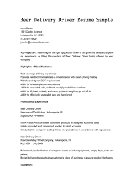 Delivery Driver Resume Example Beer Delivery Driver Resume Free Sample Vinodomia