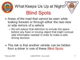 Blind Side Definition February 2009 Look Twice U2013 Save A Life 1 Blind Spots Seminar Gold