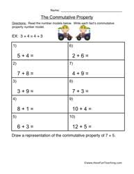 awesome collection of commutative property worksheets 6th grade in
