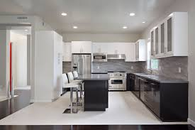 Painting Metal Kitchen Cabinets Inspiration Decoration Divine White And Black Two Tone Kitchen