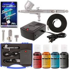 complete cake decorating airbrush system kit w food color set air