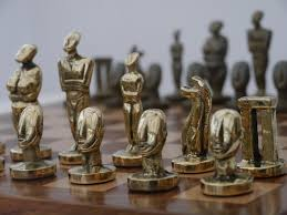 Metal Chess Set by Chessbaron The Aegean Chess Set In Heavy Brass