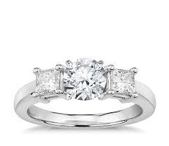 princess cut three stone engagement ring in platinum 1 2 ct tw