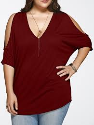 shoulder cut out blouse cold shoulder cut out fitting blouse in wine xl